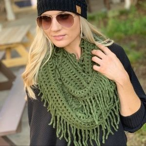 LAST ONE! Green Lattice Fringe Infinity Scarf